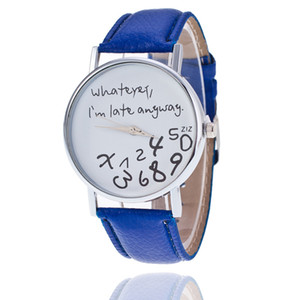 New Watch Woman Hot Women Leather Watch Wathever I am Late Anyway Letter Watches Sanwony Freeshipping