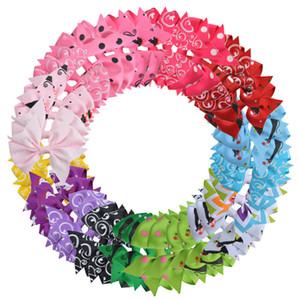 40pcs 3 Zoll Mädchen-Blumengrosgrain-Band-Nadelrad-Bögen mit Krokodilklemmen scherzt Butike Pin-Haar-Zusätze