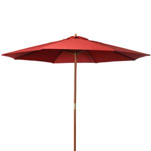 9 футов деревянный патио зонтик от солнца козырек от дерева открытый пляж кафе сад красный