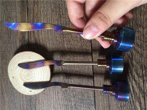 Rainbow Titanium Cap Carb Tool Domeless Titanium Ti Nail 14mm 18mm Titanio spada Dab Tool con tappo Carb Dabber