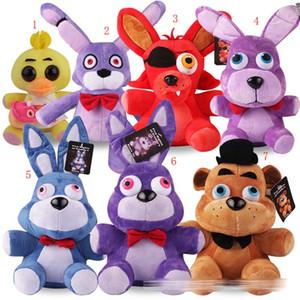7 estilo de la nueva historieta de cinco noches en juguetes de peluche de Freddy Bonnie / Foxy / Freddy / Chica Fazbear FNAF Los animales de peluche de 25 cm con la etiqueta ccsme C515