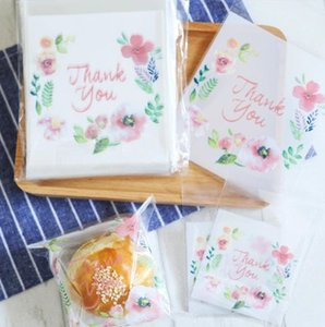 Flower decoration THANK YOU letter bakery package cookie biscuit candy bag jewelry gift packing bags transparent self adhesive