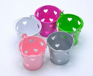 تعزيز 20 قطعة / الوحدة الحجم h5 * DIA6cm بوتيك شكل قلب الجوف المعادن دلو المجوهرات / مجوهرات هدايا الزفاف الحلوى أشتات حزمة مربع