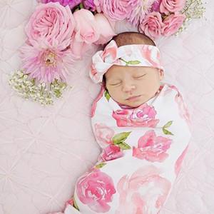 2017 Nouveau Nouveau-Né Bébé Filles Rose Fleur Recevant Couvertures Coton Linge Avec Bandeau 2 Pcs Ensembles 0-3 Monthes E624