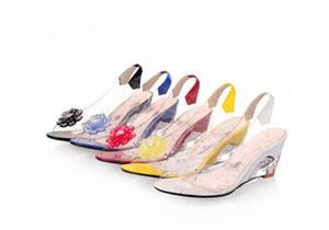 2016 новый женская прозрачная обувь ПВХ сандалии красное дно открытым носком клинья каблуки мода цветок горный хрусталь сандалии плюс большой размер 34-43