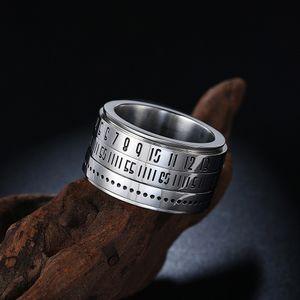 펑크 스타일 개성 남자 스테인리스 반지는 남자 보석 보석에 대한 로마 디지털 암호 반지 실버 반지를 켤 수 있습니다