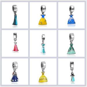 Popüler Prenses Elbise kolye Charms Boncuk Prenses Giydirme DIY Charm Fit Orjinal Bilezikler Bilezik Hediye Kızlar Takı