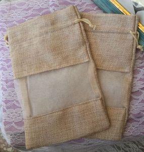"""حقائب Flax jute Organza الشفافة 15x22 سم (6 """"x 8.5"""") من الضروري النفط شامبو سائل للماكياج الخيش المجوهرات الكتان الحقائب الترويجية"""