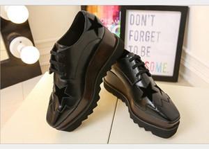 sapatos de couro estrela plataforma quadrada inclinação grossa Stella Britt Calçados Elyse escovado estrela sapatos de plataforma Derbys Wedge Lace-up Moda Calçados
