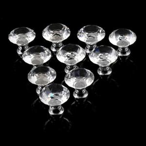 1 pack / 10 pcs 30mm Forma de Diamante de Cristal Gaveta Do Armário De Vidro Puxadores e Puxadores Handles Porta Da Cozinha Guarda-roupa Acessórios de Hardware
