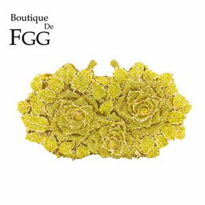 Dazzling Frauen Gold Rose Blume Aushöhlen Kristall Abend Metall Kupplungen Kleine Schminktäschchen Handtasche Hochzeit Box Clutch Bag