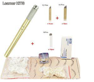 Gros-sourcils kit maquillage permanent machine tatouage sourcils tatouage microblading kits de stylo avec 30pcs lame aiguille pour utilisation apprenant