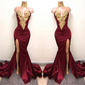 Goldspitze Applikationen Sexy Meerjungfrau High Neck Front Split Abschlussball Kleid Burgund Elastic Satin Abendkleid Vestido Curto