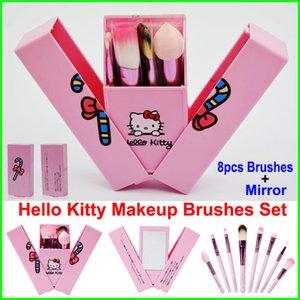 Hello Kitty Set di pennelli per trucco + Specchietto per ombretto blush Kit di pennelli rosa per trucco Articoli per la toilette per la bellezza 8 pezzi per bambini strumenti per cosmetici
