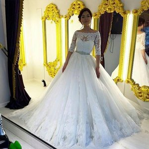 Beautiful Lace Beads Sash Wedding Dresses Half Sleeve A-Line Sheer 2018 Plus Size Train vestido de noiva Bridal Gown Ball For Bride