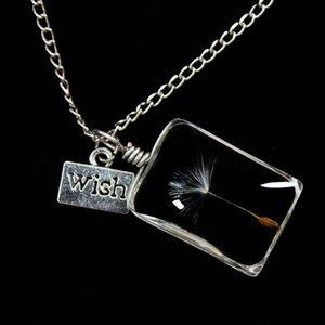 Charms Wish Real Dandelion Seed Necklace flor colgante joyería de las mujeres de la planta de amor astilla cadena suéter collares regalo