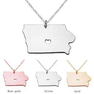 2016 chaud Iowa State Charm collier, pendentif en forme de 18K or rose La carte de l'état, personnalisé Iowa State avec un collier en gros de coeur colliers