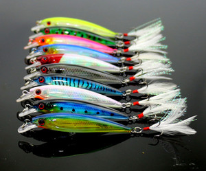 Hengjia Minnow Fishing Wobblers Cebos 10 UNIDS 9 cm 8g Plástico Señuelo de la Pesca Isca Pesca Pluma Artificial Treble Hooks Cebo Duro aparejos de Pesca