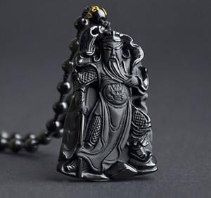 Природный матовый обсидиан кулон Гуань Гун Гуань Юй, чтобы отогнать невезение, повезло, повезло, кулон 60mm39mm10mm