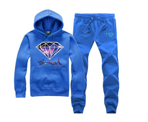 Diamant Printed Trainingsanzüge Herren Herbst Frühling Sport Casual Sets Hoodies mit langen Hosen 2 Stück Anzüge