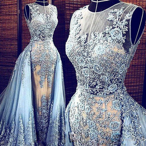 Real Images Light Blue Elie Saab Evening dresses Detachable Train Transparent Formal Dresses Party Pageant Gowns Celebrity Prom Long