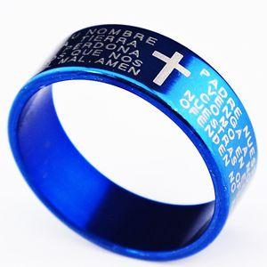 10 Pcs Garanti Véritable Nouveau 6 m Religieux Bleu 316L Titanium Acier Inoxydable Cross Verses Hommes Femmes Anneau En Gros Bijoux Lots A065