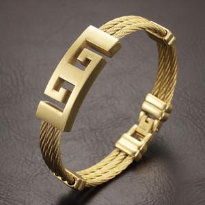 Haute teneur en or qualité couleur hommes bracelet en acier inoxydable bracelets en métal lourd punk bijoux bracelets Great Wall Bracelet Motif