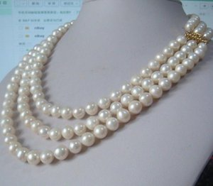 Elegant triple strands 8-9mm White round Pearl Necklace 17 inch 18 inch 19 inch 14k gold clasp