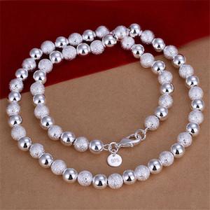 Оптовая продажа 8 мм Песок свет бисера ожерелье стерлингового серебра ожерелье STSN086, совершенно новая мода 925 серебряные цепи ожерелье заводская продажа
