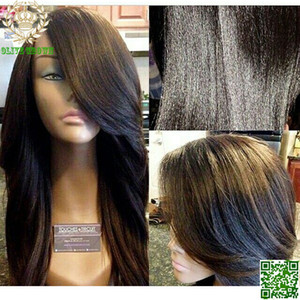 Yaki Brésilien Droite Full Lace Perruques de Cheveux Humains Italien Lumière Yaki Droite Lace Front Perruque Avec Côté Bangs Avec des Cheveux de Bébé