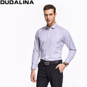 Al por mayor-Dudalina Classic Striped Men Camisas de vestir de manga larga más el tamaño de camisas formales masculinas camisas casuales camisa masculina camisas hombre