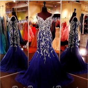 Sparkly Royal Blue Crystal Rhinestones Sirena Vestidos de noche Correas Cariño Tulle Longitud del piso Prom Fiesta formal Vestidos del desfile
