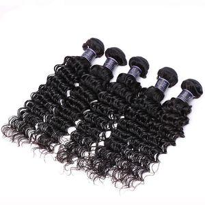 ZF 깊은 웨이브 브라질 머리카락 인간의 머리 Weft 확장 곱슬 100 % 인간 Naturla 블랙 8-30 인치 블랙 여자 # BZHW03