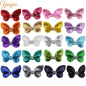 100 unids / lote 2 '' Mini brillo de lentejuelas Hairbows sin pinzas de pelo para niñas y niños Diy Hair Bow diadema niñas accesorios para el cabello