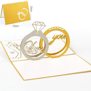 10pcs / lot anneau de diamant conception exquise 3d pop-up carte saint-valentin