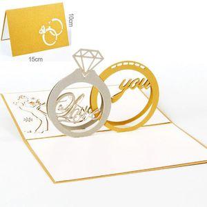 10 teile / los Diamant Ring Design Exquisite 3d Pop Up Karte Valentinstag Grusskarten Laser Cut Hochzeitseinladungen