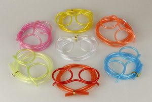 새로운 재미 있은 부드러운 안경 짚 독특한 유연한 마시는 튜브 키즈 파티 액세서리 다채로운 플라스틱 마시는 빨대