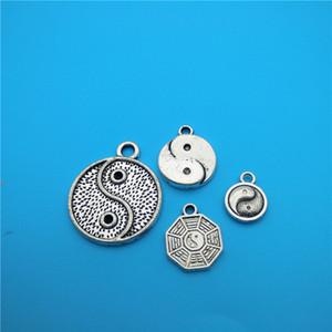 Argento tibetano Yin e yang Charms Tai Chi Ciondoli Gossip Creazione di gioielli Bracciale Collana Moda Popolare Accessori di gioielli Fai da te V159