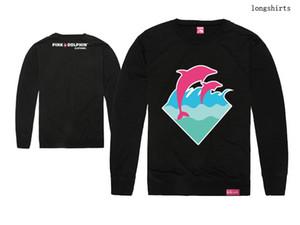 Hip hop Pink dolphin t shirts Impresión de la ropa de los hombres de algodón de moda camiseta completa Top Brand tee o-cuello largo Nuevo Envío Libre caliente