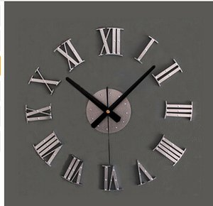 Vintage wood texture 3D Roman numeral clock,home decoration wall watch,wood sticker home decor free shipping