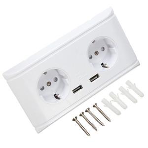 Universal UK / US / EU Blanc Double USB Double prise murale 5V 2A chargeur pour téléphone portable Adaptateur électrique Deux prises USB