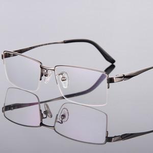 Nuevo montura Spectacle Men Half-Rim Frame gafas de miopía gafas de titanio montura con gafas transparentes myopia 9023