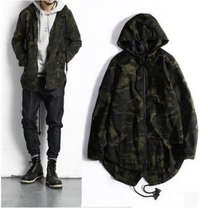 Wholesale- Streetwear 2017 Camouflage Jacket Men Causal Camo Long Hooded Collar Outwear Jackets And Coats Mens Windbreaker Clothing