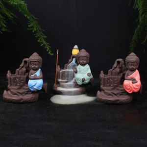 Küçük Keşiş Censer Backflow Buhurdan Küçük Buda Koni Tütsü Brülör Tütsü Çubukları Tutucu Yixing Mor Yaratıcı Ev Dekor