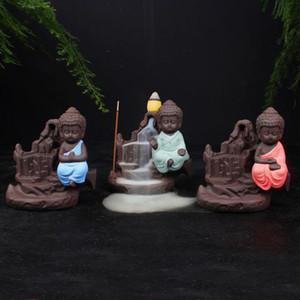 Der kleine Mönch Räuchergefäß Rückfluss Räuchergefäß Kleine Buddha Cone Räuchergefäß Räucherstäbchen Halter Yixing Lila Kreative Wohnkultur