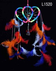 Aşk Kalp Tüy Dream Catcher Ile Renkli Dairesel Net Tüyler Duvar Asılı Dekorasyon Dekor Süs 4 Çeşit Seçmek için