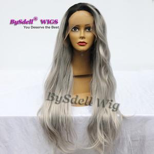 Cabello sintético Adulto Peluca delantera del cordón lleno Ombre de la raíz negra / Sombra Color gris Peluca Larga Suelta Curl Pelucas delanteras del cordón para las mujeres negras