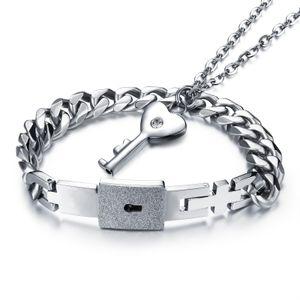 Его и ее нержавеющей стали Любовь сердце замок браслет сердце ключ ожерелье соответствующие пары любителей комплект ювелирных изделий День Святого Валентина подарок