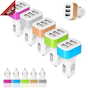 Nuevo Universal Triple USB Car Charger Adapter USB Socket 3 Port Car-cargador para iPhone Samsung Ipad DHL gratis Si más de 200 piezas