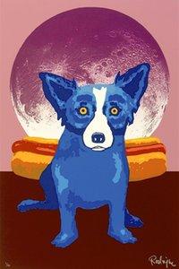 Perro azul decorativo, pintura al óleo pintada a mano pura genuina de alta calidad del arte de la decoración de la pared en lona